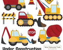 Premium Primary Construction Clipart - Truck Clipart, Construction Clip Art, Vector Construction Trucks, Construction Equipment, Diggers