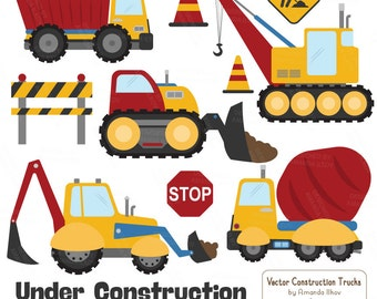 Premium Primary Construction Clipart - Truck Clipart, Construction Clip Art, Vector Construction Trucks, Construction Equipment, Diggers