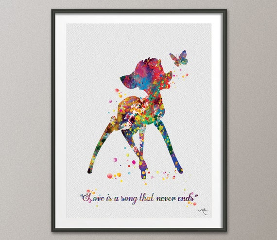 bambi love quote disney inspired watercolor art print baby