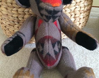 Vintage Teddy Bear, Pendleton Chief Joseph Wool Blanket, Pendleton Fabric Teddy Bear