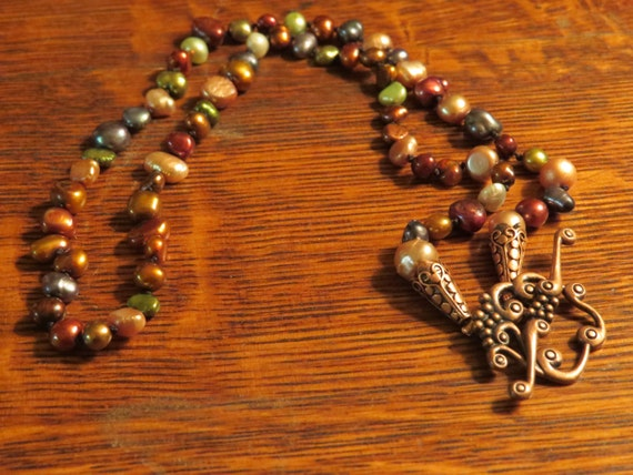 Hand knotted fall color pearl with copper finding necklace