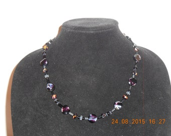 Purple glass bead necklace #8N