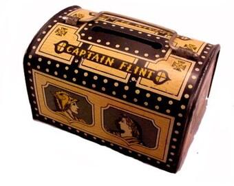 "1940s ""Captain Flint"" Treasure Chest Metal Bank"