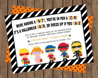 Halloween Costume Party Invitation, Costume Party Invite, Halloween Costume Party, Halloween Party, DIY Halloween Invite (5x7)