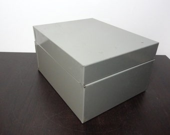Vintage Industrial Grey Metal Adjustable File Box