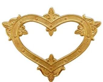 Brass Stamping Heart Open Frame, Victorian Steampunk Heart Embellishment, Raw Brass Filigree AMERICAN Made
