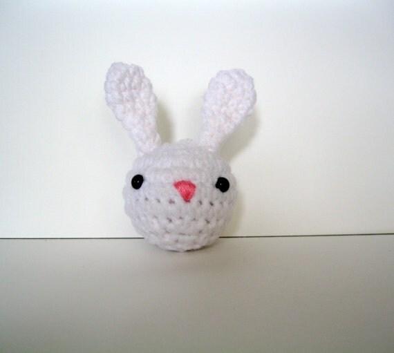 Amigurumi Bunny Keychain : Crochet White Rabbit Amigurumi Keychain