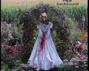 BLOODY BRIDE Corpse Bride Zombie Bride of Frankenstein Halloween Size 12-14 Burton Wedding Corpse Bride Costume by SweetDarknessDesigns