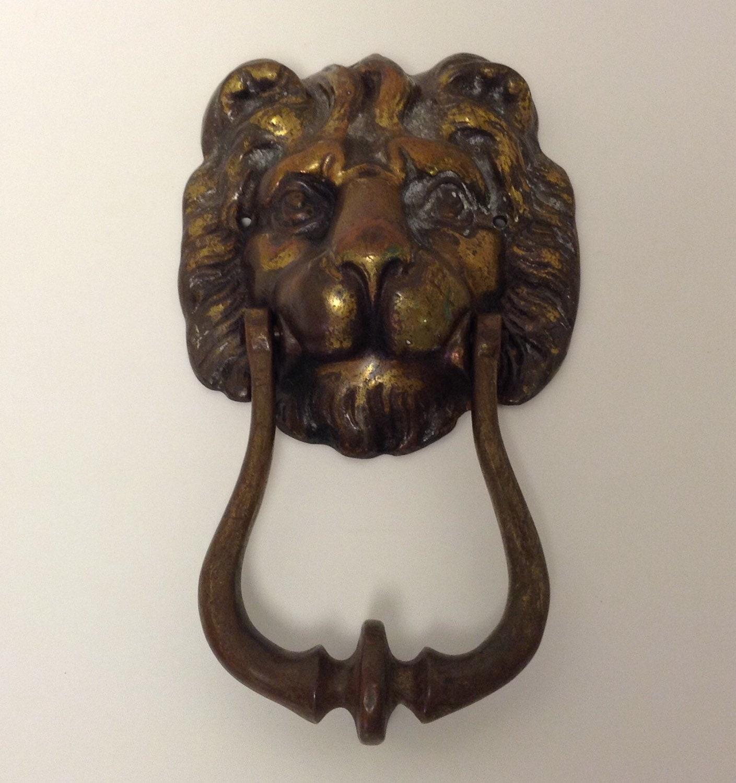 Vintage english lion head door knocker figurative brass - Lion face door knocker ...