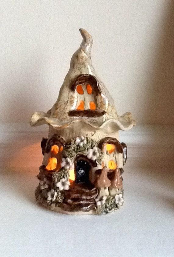 Ceramic Tea Light Houses Fairy House Tea Light Holder