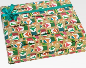 Christmas Gift Wrap, Roll of Christmas Wrapping Paper, Holiday Packaging, Personalized Gift Wrap