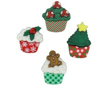 Jesse James Buttons - Dress It Up Buttons - Christmas Cupcakes 7474 ~ Free Shipping Coupon!