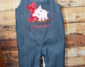 Birthday Pig Longall, Shortall,Farm Birthday Outfit,Pig Birthday Jon, Boy Birthday Outfit, Boy Pig Outfit,Embroidered Applique