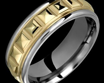 7.5mm Two-Tone Comfort Fit Titanium & 14K Solid Gold (not plated) Wedding Band Fashion Ring