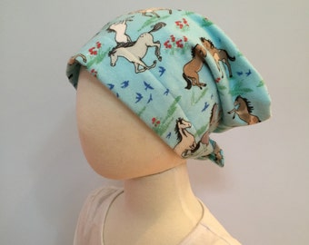 Mia Children's Flannel Head Cover, Girl's Cancer Headwear, Chemo Scarf, Alopecia Hat, Head Wrap, Cancer Gift for Hair Loss - Horses