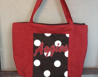 Diaper Bag | stadium bag | large tote bag | Crimson | Black & White | boutique style | overnight bag | Aggies