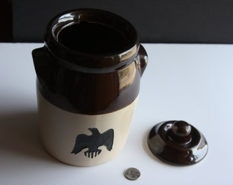 SALE!!! Vintage Black Eagle Mason Ware Canister with Lid. Great Condition. Medium Size.