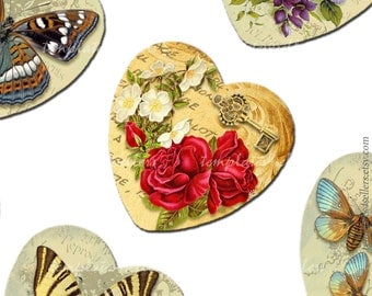 Digital Collage Sheet Vintage Flowers 1x1 inch heart shape images for Scrapbooking Pendants Lily Rose Original Printable 4x6 inch sheet 204