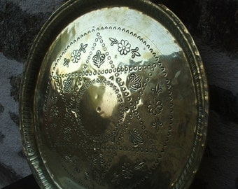 Vintage French Ornate Engraved Brass Charger/Church plate