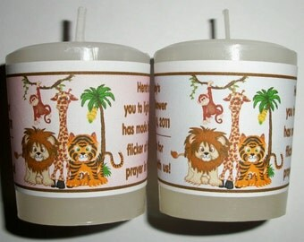 28 Jungle Safari Baby Shower Favors Votive Candle Labels ~ FREE SHIPPING