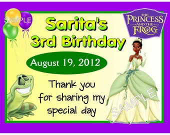 15 Princess Tiana Birthday Party Favors Personalized MAGNETS ~ FREE SHIPPING