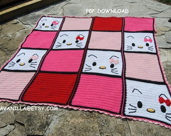 Hello kitty/2/ Blanket/ Pattern/ PDF Download/ Crochet
