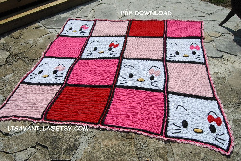 Hello kitty/2/ Blanket/ Pattern/ PDF Download/ Crochet from LisaVanilLA on Et...