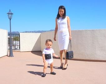 Newborn  & Baby Girl Chanel Purse Bag Inspired Onesie Bodysuit! Classic