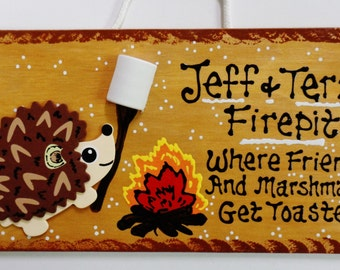 Hedgehog FIREPIT SIGN Personalized Name Sign Fire Pit Backyard Deck Patio Plaque