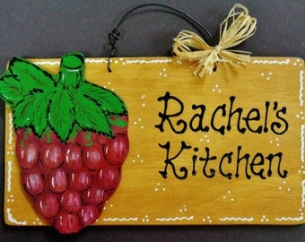 GRAPES Overlay Personalized Name KITCHEN SIGN Decor Wood Tuscan Fruit Plaque
