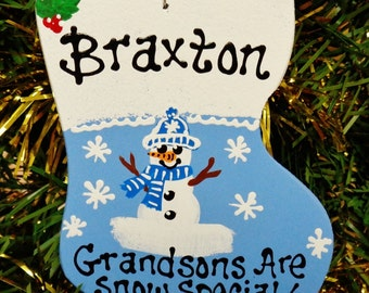 U Choose Name-year Personalized GRANDSONS ARE SNOW Special Christmas Ornament