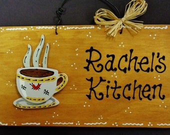 COFFEE CUP Personalized Name KITCHEN Sign Decor Wood Country Wall Plaque