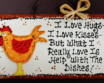 Adorable ROOSTER Hugs~Kisses~Dishes KITCHEN SIGN Chicken Plaque Wall Decor
