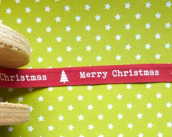 2m Red Merry Christmas Cotton Ribbon Christmas 9mm