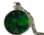 """Green Necklace, Free shipping, Necklace, Round pendant, Unique Jewelry,Gold, One of a kind, """"OZ"""", Pendant, Gift, Hand Painted"""