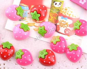 30 pcs 20mm Mix Color Kawaii Resin Strawberry ,Diy Accessories Jewelry Supplies