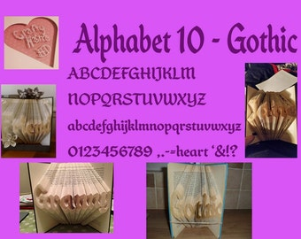 Alphabet 10 - 2 Liner Alphabet - to make your own Book Foldings - Book Folding Pattern Alphabet - PDF - Instant Download