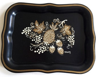 Mini MAXEY Metal Tray Black with Golden Pineapple Strawberries Coshocton, Ohio Length 8 1/4""