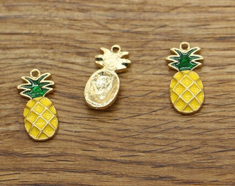 10pcs Pineapple Charms Gold Plated Enamel Colorful Fruit Charms 12x24mm 1314