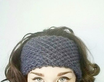 Knitted Honeycomb Headband/Earwarmer//Featured In Charcoal Gray