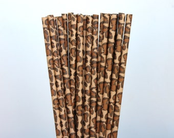 25 Leopard Paper Straws birthday party  weddings baby shower P-79