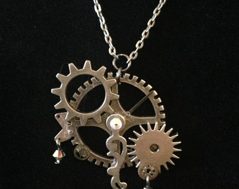 Silver Steam; Silver gears, Clock hands and parts, rhine stone, Swarovski Crystals
