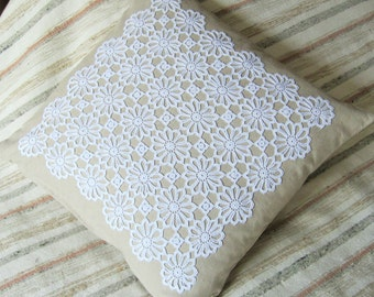 Decorative authentic vintage doilly on cushion