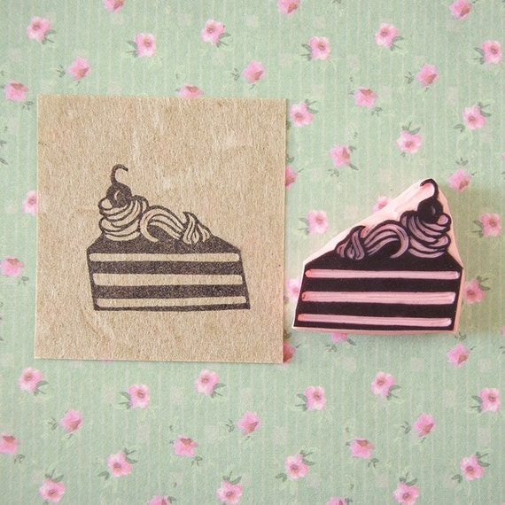 Cake Stamp Sweet Food Rubber Stamp Hand Carved Picnic