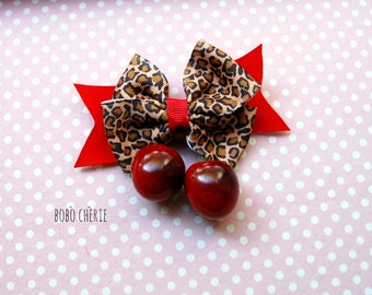 Bow Hair Clip with high quality grosgrain ribbon Red and leopard and cherries for a PinUp Rockabilly style