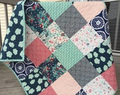 Baby girl quilt, crib quilt, toddler bed, NouvElle, navy-red-aqua-teal