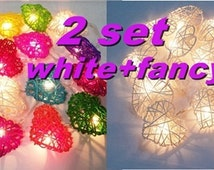 2 set string lights love heart white + fancy rattan party patio fairy light decor wedding christmas outdoor garland garden