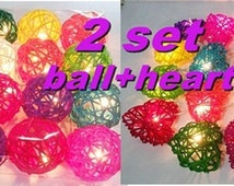 2 set string lights fancy ball + heart rattan party patio fairy light decor wedding room home outdoor garland garden