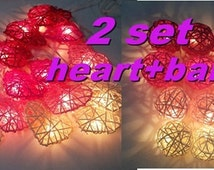 valentine 2 set string lights sweet in love pink tone ball + heart rattan party patio fairy light decor wedding outdoor garland garden