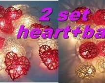 valentine 2 set string lights red in love ball + heart rattan party patio fairy light decor wedding outdoor garland garden